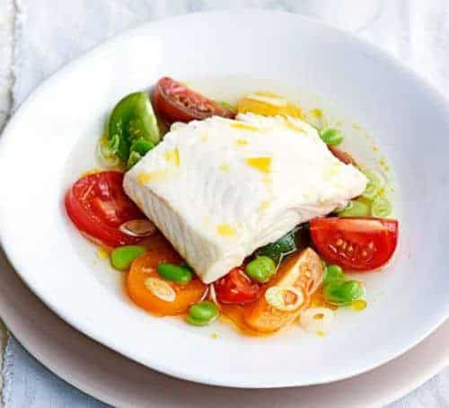 Poached Hallibut With Heritage Tomatoes